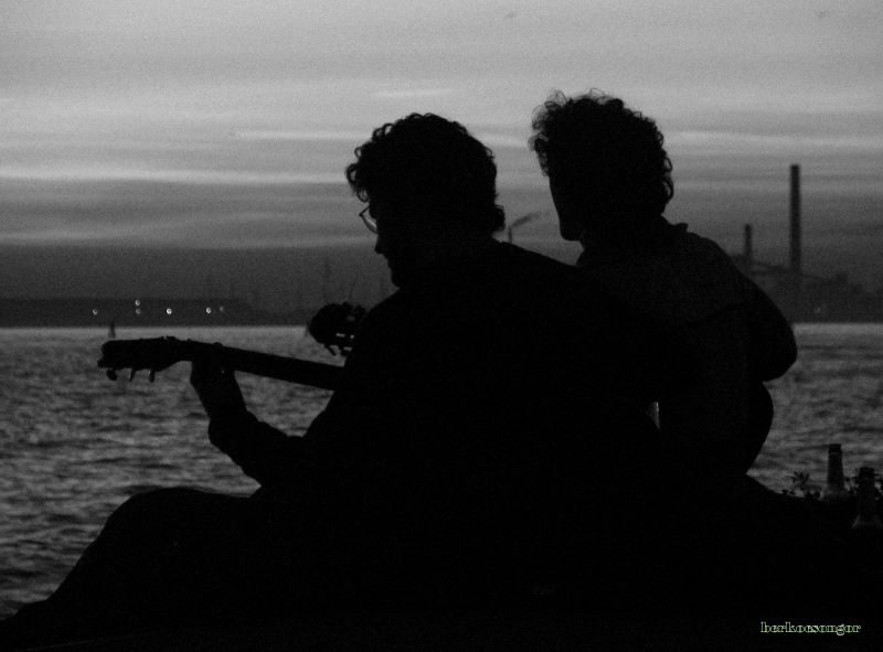 Guitar fans in sunset.
