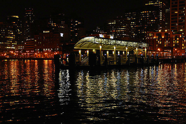 Night view at Ferry Plaza Pier 2