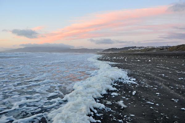 Snow Sunset at tne Beach