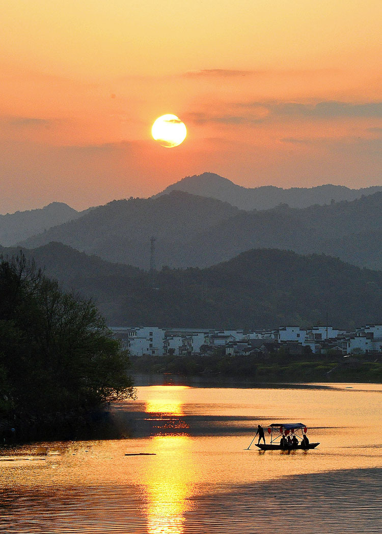 Sunset at Wuyuan Jiangxi of China