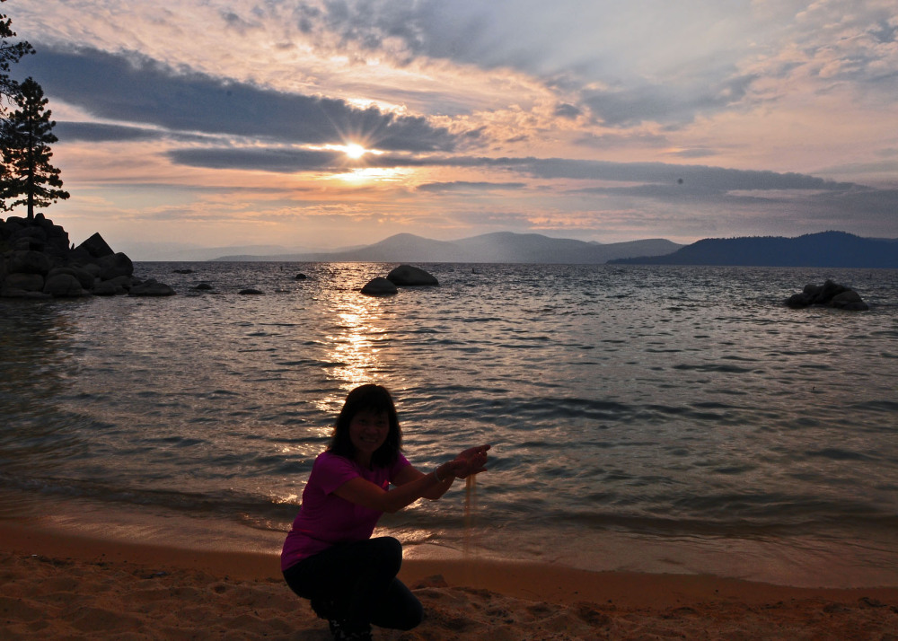 Sunset at the beach of Lake Tahoe