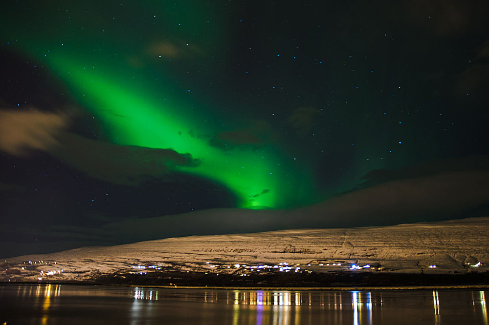 Iceland, City night Northern Light