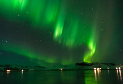 Iceland, Northern Light at Mountains