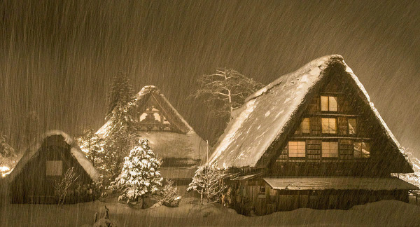 Night view, Shirakawa, Ono-Gun-Ogimachi