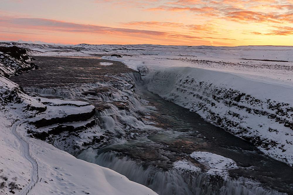 Frozen waterfall at Golden Circle