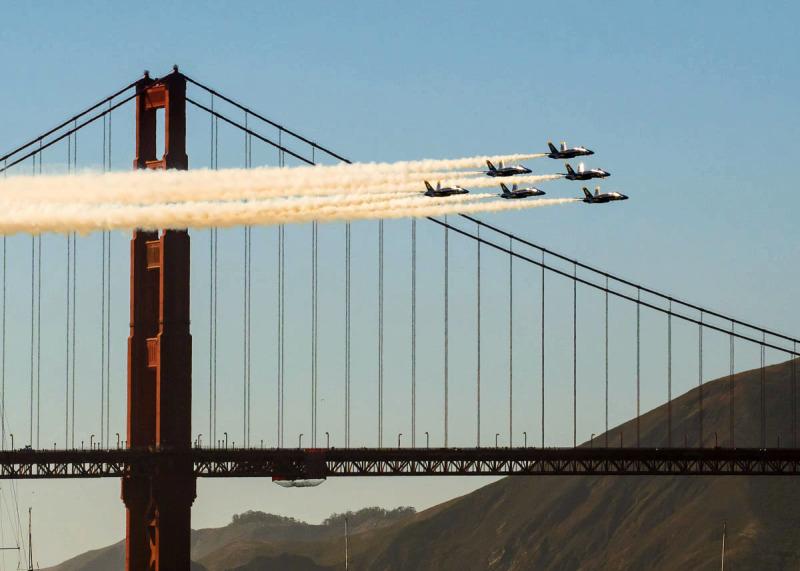 Blue Angels flyed through Landmark