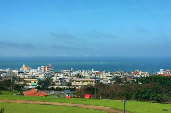 Looking down on Yomitan, Okinawa.