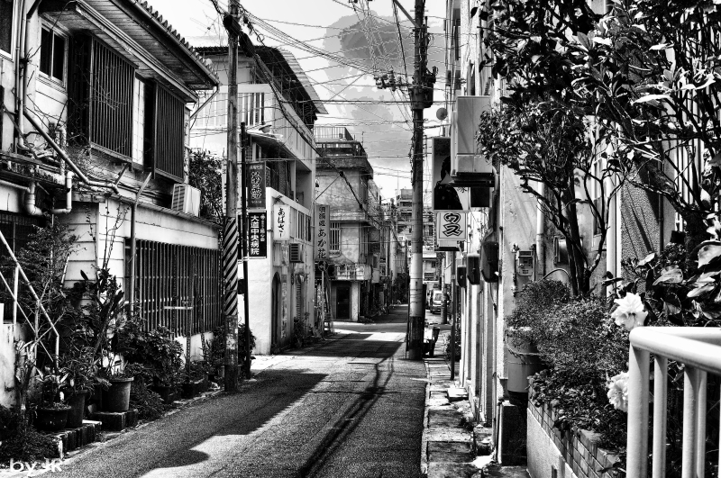 A side stree in Naha Okinawa.