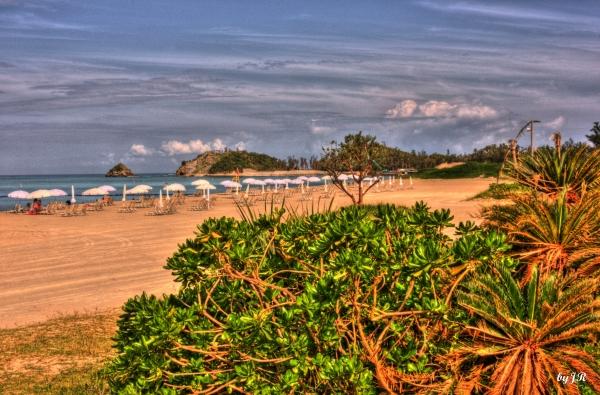 Colorful beach in Okinawa.