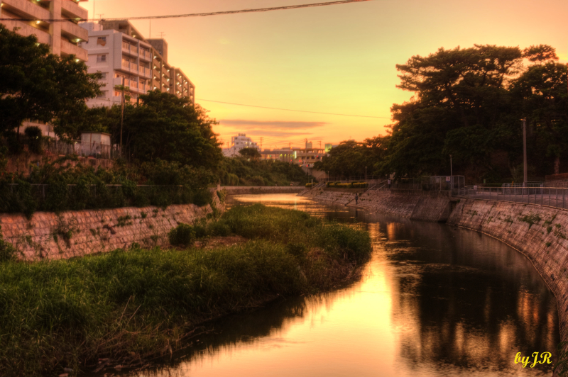 A river flowing to the ocean in Okinawa.