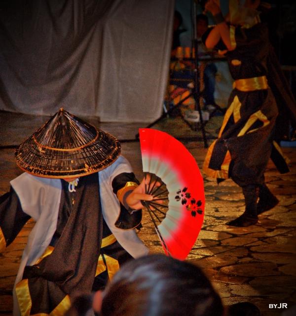 Okinawan Eisa dancer in traditional dress.