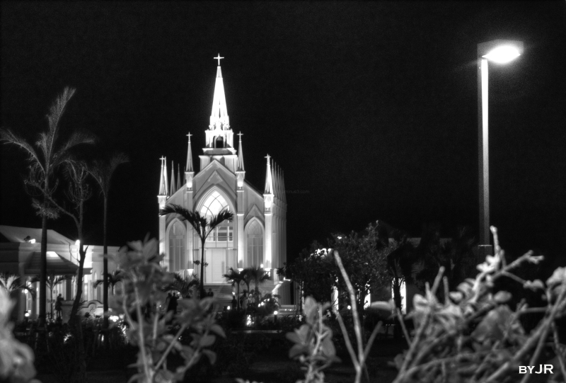Wedding chapel in black and white.
