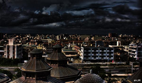 Urasoe city at night.
