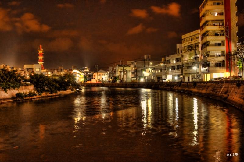 Urasoe river by night.