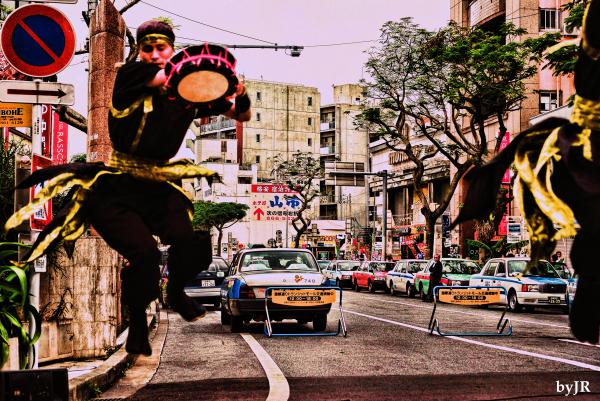 A jumping dancer.