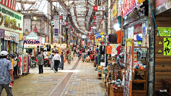 An old style Asian market in Naha City.