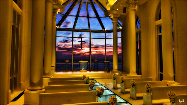Sunset from inside the chapel.