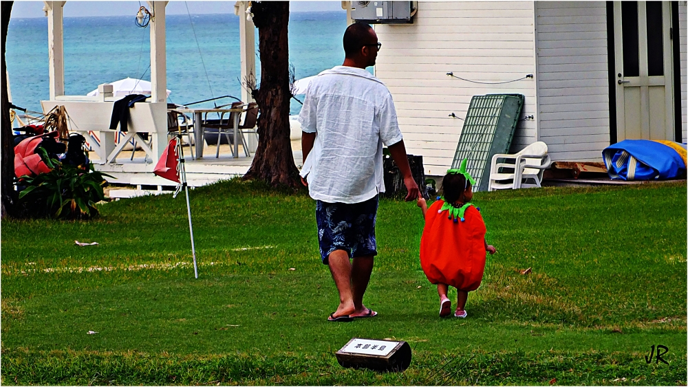 Father walks his baby pumpkin.
