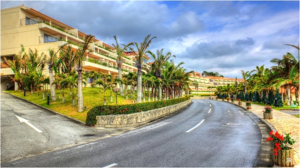 Main street resort hotel in Okinawa.