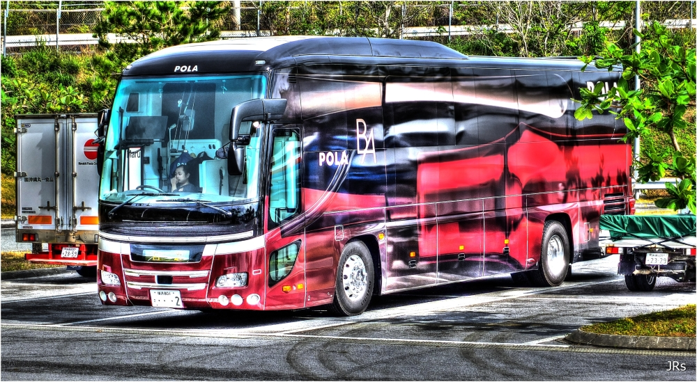 One near looking tour bus.