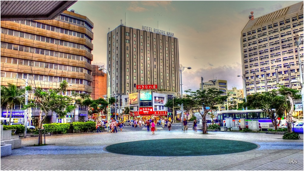 Downtown Naha City near the monorail station.