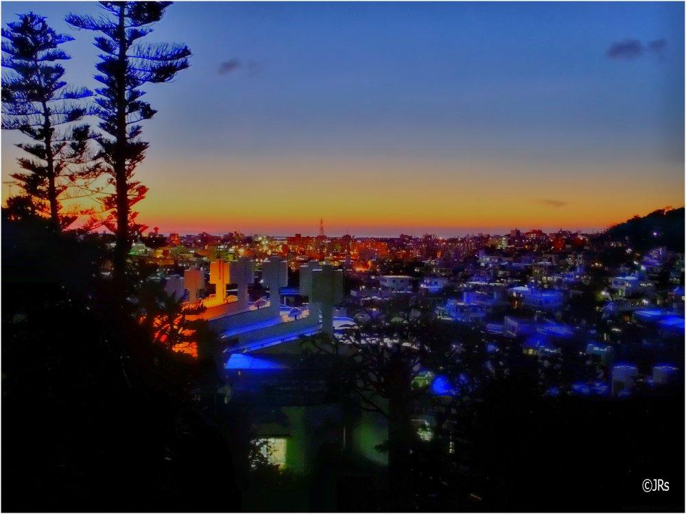 City at sunset.