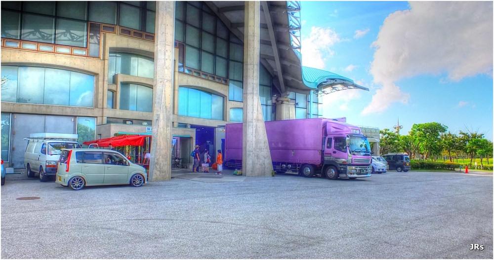 Unloading for a show at the Convention Center.