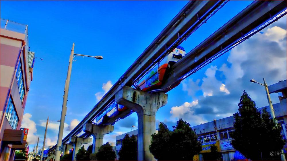 Monorail headed toward Naha City and the airport.