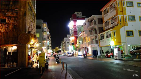 One of the well lit streets, lots of restaurants.