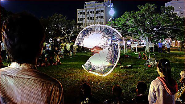 A fire dancer at an Okinawan festival.