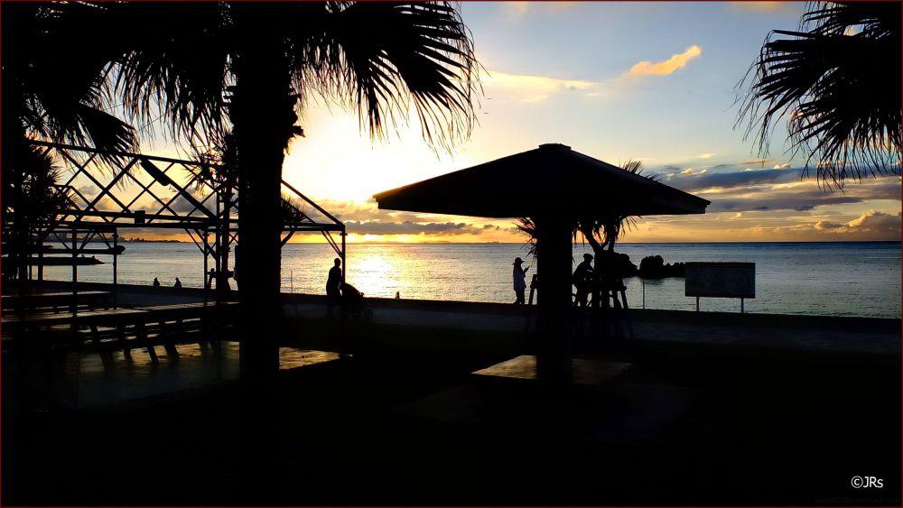 Sunset on Araha Beach in Chatan.