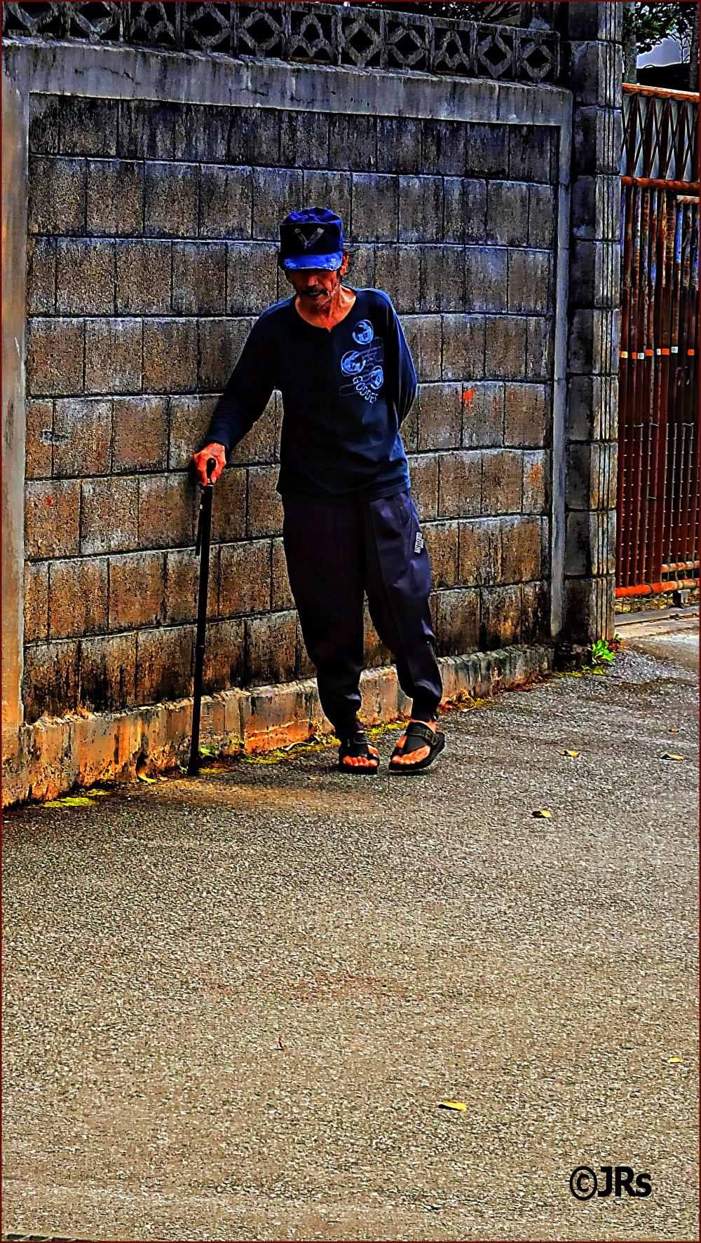 This disabled man walks every evening.