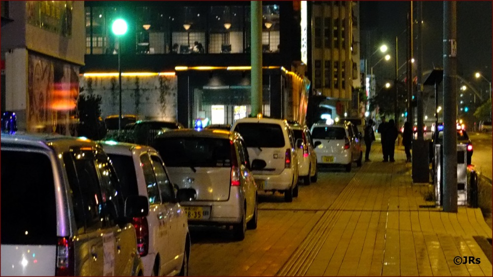 Taxis to pick up the late night party crowd.