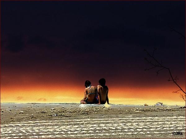 Couple enjoys an Okinawan sunset.