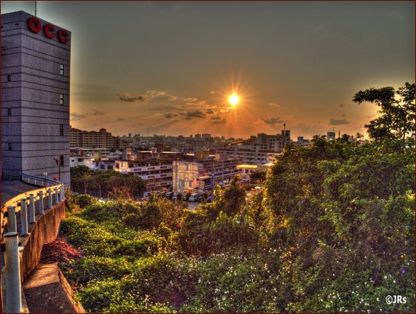 Looking down on Naha City at sunset.