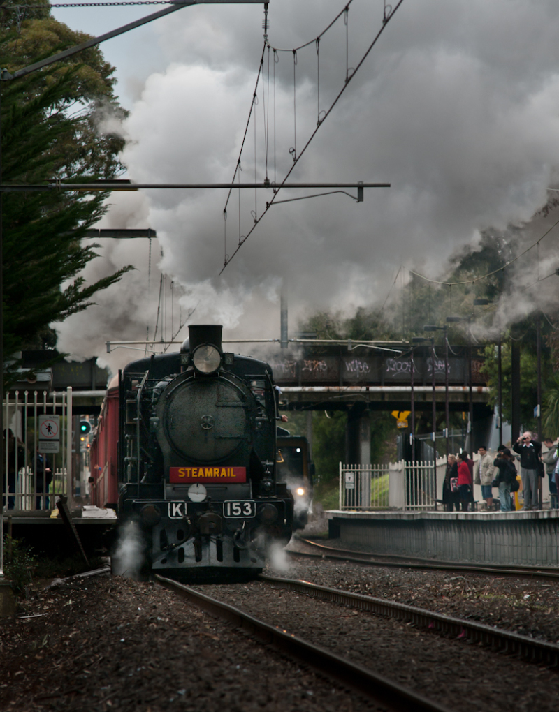 Steam train passing station