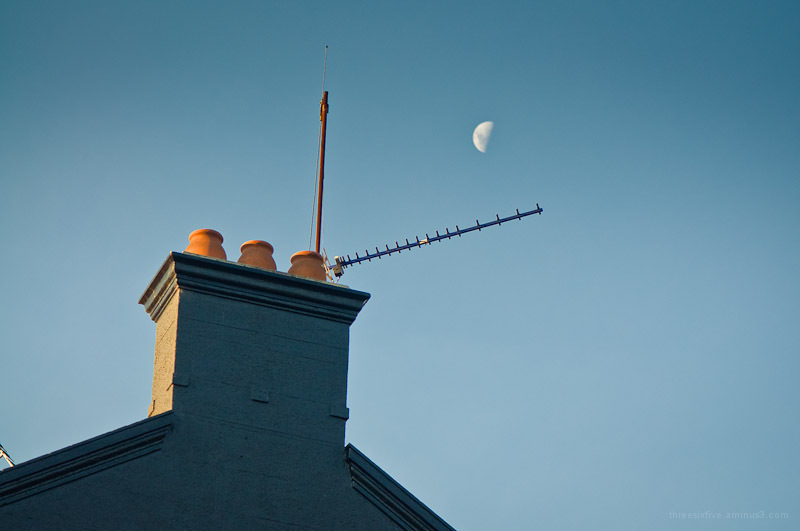moon and building