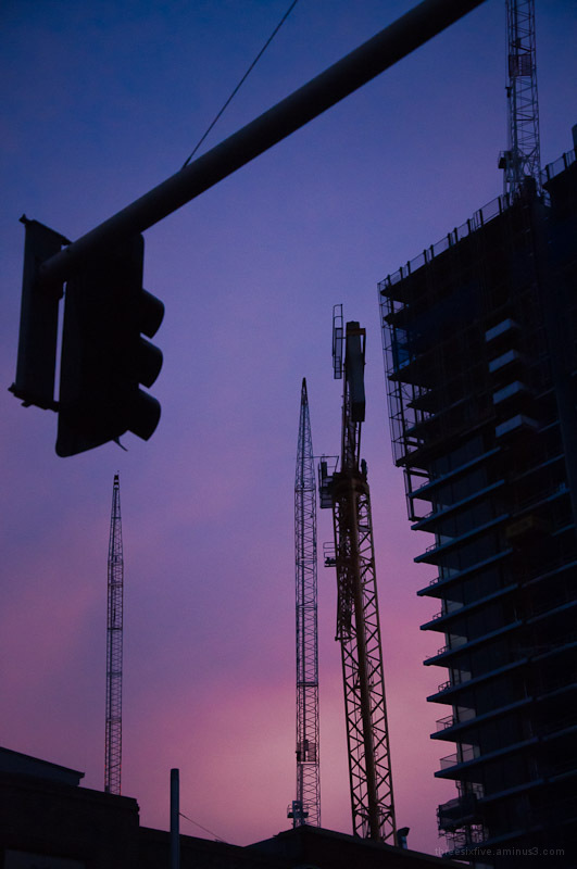 Construction at twilight.