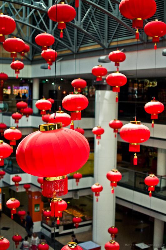 red lanterns in market city