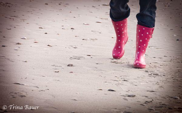 Pink polka dot boots
