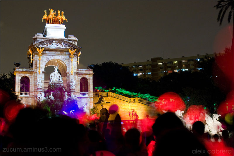 Flashmob with lighted balloons in Barcelona