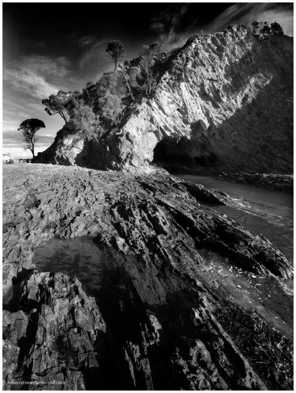 Light reaches into a sea cave