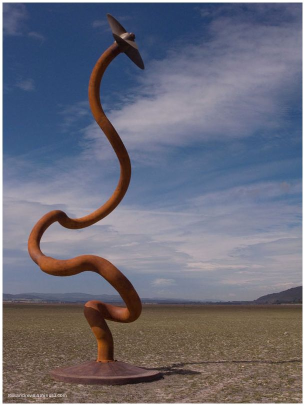 Worm rising over dry lakebed at Lake George