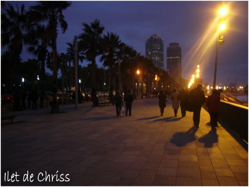 Promenade le long de la mer le soir