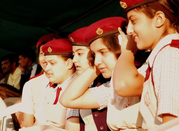 School girls in uniform ready for a group picture