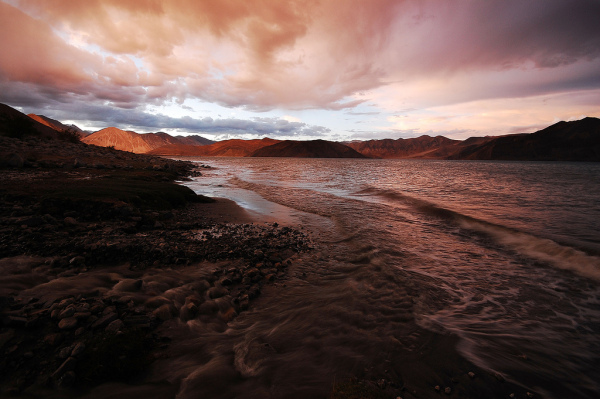 Pangong lake at an evening