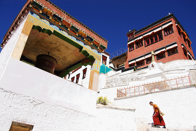 Monk walking at Thicksey monestary in Ladakh