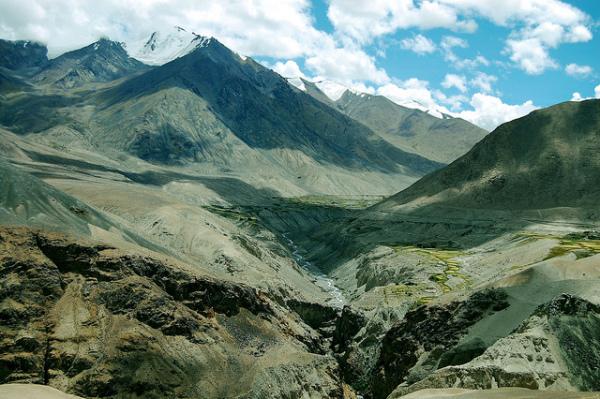 Stream running through the Nubra valley mountains