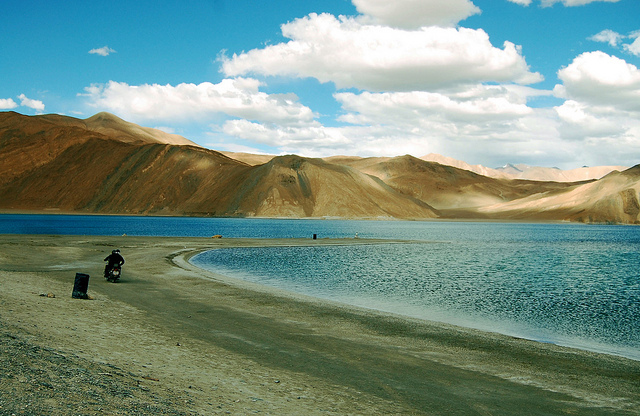 Motor biking in the Pangong Tso, Ladakh