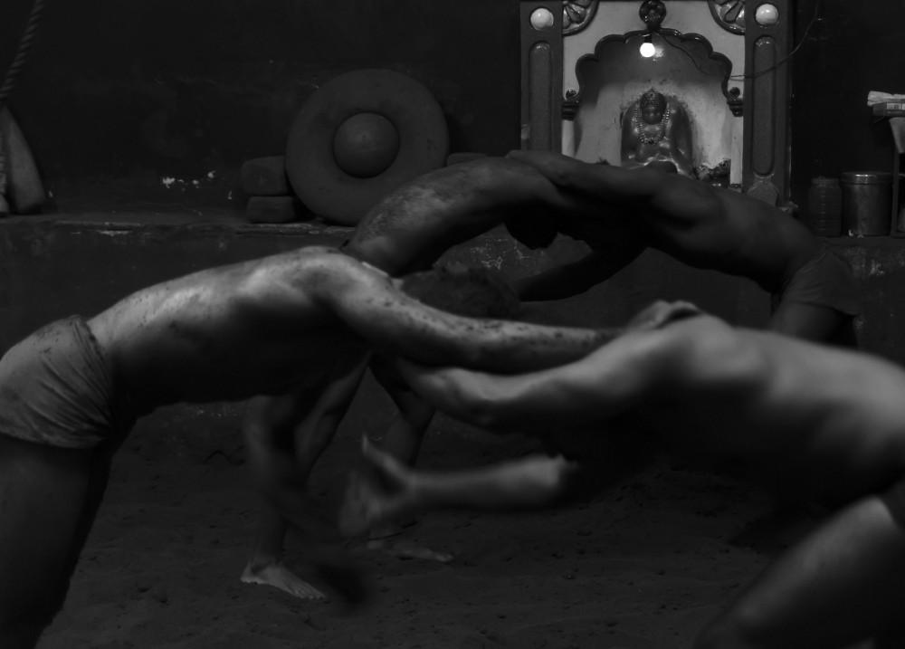 Wrestlers practising at akhada